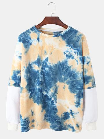 Cotton Tie-Dye Faux Twinset Sweatshirt