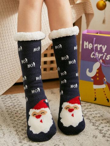 Women Christmas Santa Claus Elk Sock Plus Velvet Floor Socks