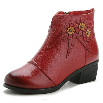 Cow Leather Flowers Square Heel Boots