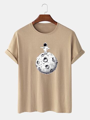 Camiseta con estampado de astronauta espacial de 100% algodón