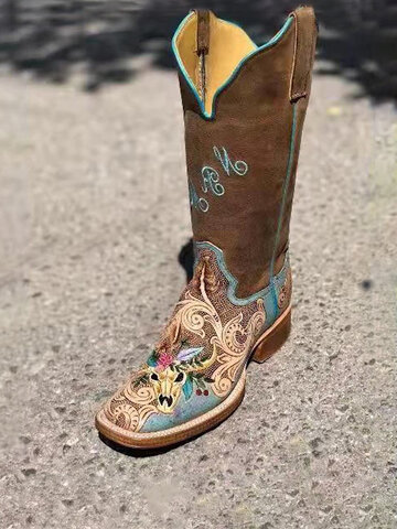 Vintage Embroidery Comfy Square-toe Cowboy Boots