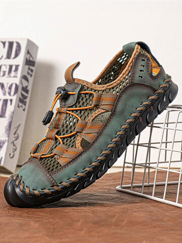 Men Closed Toe Outdoor Leather Sandals