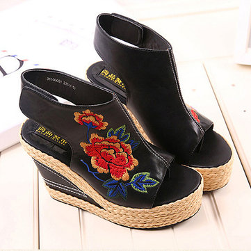 Flower Embroidery Sandals