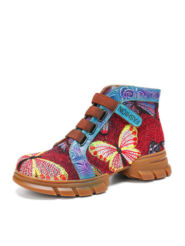 SOCOFY Butterfly Embroidery Genuine Leather Casual Ankle Short Boots