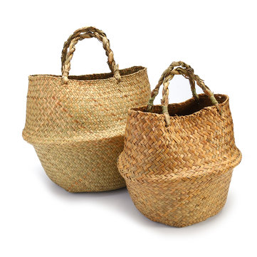 2Pcs Seagrass Flower Belly Basket Storage