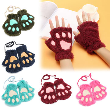 Women Bear Cat Claw Mitten Plush Gloves, Rose wine red blue army green