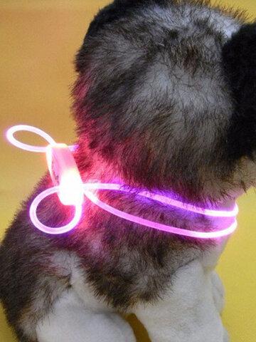 Perro LED Collar personalizado ajustable Poliéster Pet Iluminacion Resplandor intermitente Seguridad