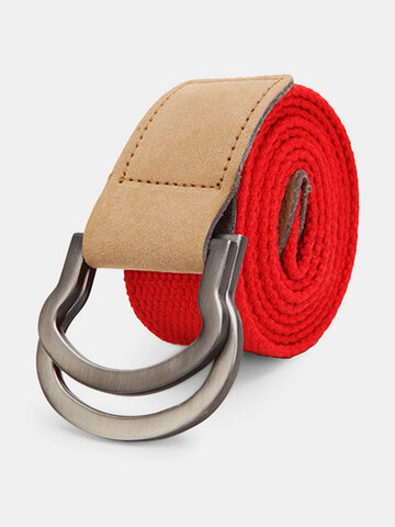Double Ring Loop Canvas Men's Belt Alloy Leather Buckle Pants Strip