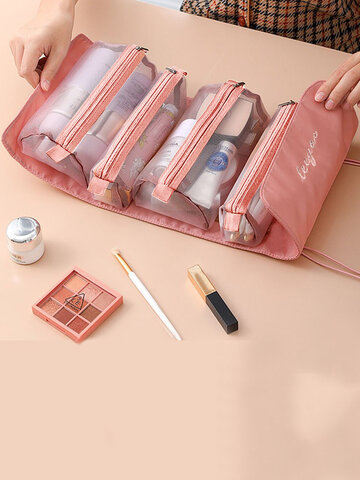 1 PC Four-in-one Twill Weave Detachable Removable Separate Multi-pocket Hanging Portable Folding Large Capacity Travel Comestic Storage Bag