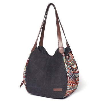 Bohemia Large Capacity Canvas Floral Handbag