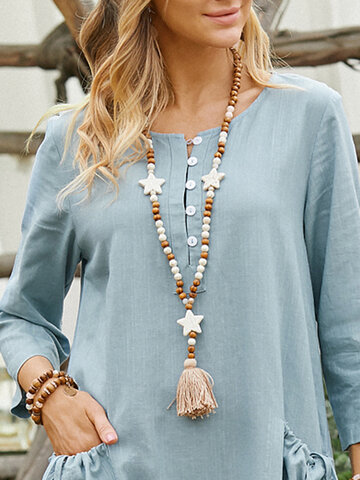 Long Star Tassel Necklace