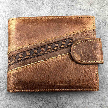 Genuine Leather Embossing Bifold Short Wallet Card Holder