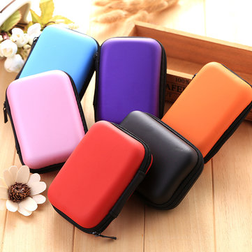 Headset Moving Boxes Travel Phone Data Cable Charger Storage Box Solid Color Coin Storage Container, Orange black sky blue light pink red purple