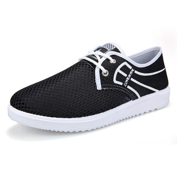 Men Mesh Fabric Breathable Soft Sole Flat Lace Up Casual Shoes