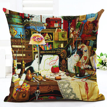 Retro Style Cats Linen Cotton Cushion Cover