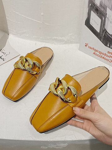 Casual Square Toe Backless Slippers