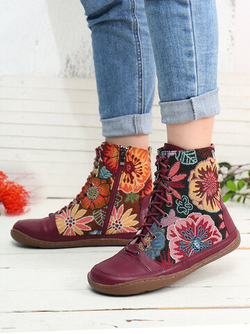 Retro Cloth Pattern Casual Ankle Boots