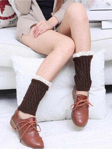 Women Lace Knitting Wool Twill Twist Boots Socks Leg Warmers Short Socks