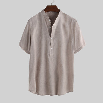 Mens Cotton Linen Casual Short Sleeves T-Shirts