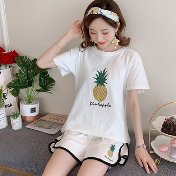 Warm Core 150g Milk Silk Pajamas Women Short-sleeved Shorts Two-piece Hot Map Student Home Service Suit, Pineapple pink lips pink lips white pineapple grey pineapple white