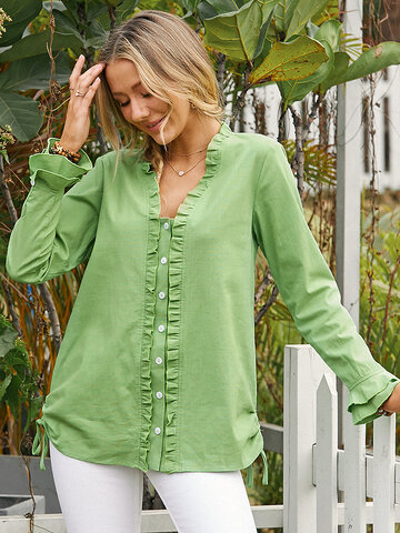 Solid Color Ruffle Casual Blouse