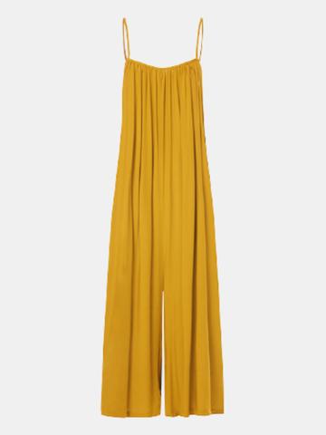 Solid Color Strap Loose Jumpsuit