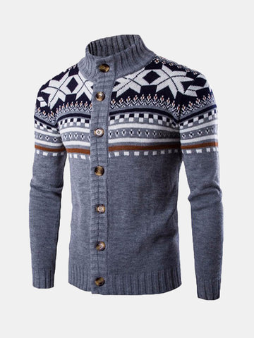 Snowflake Printing Knitted Cardigan Sweater
