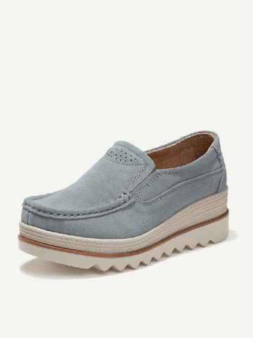Breathable Suede Slip On Platform Shoes