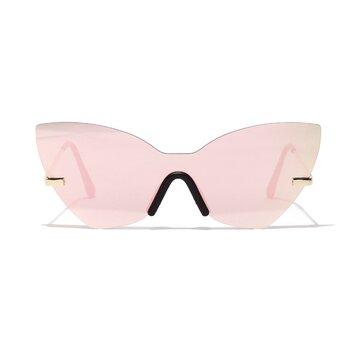 Retro Cat Eye Anti-UV Metal Temple Sunglasses