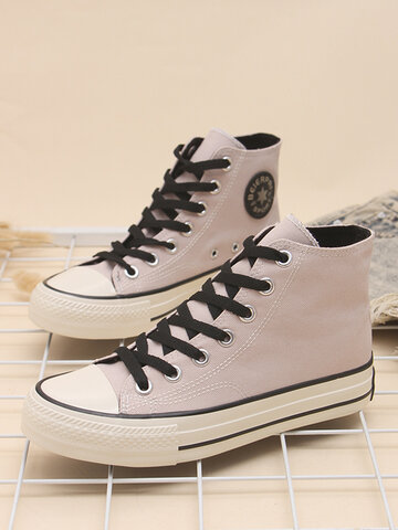 Preppy Style Pink High-top Skateboard Shoes
