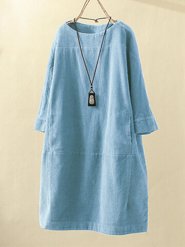 Pockets Casual Corduroy Dress