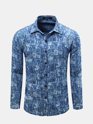 Mens Spring Fall Blue White Printing Turndown Collar Long Sleeve Slim Fit  Casual Shirts