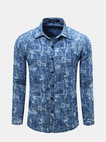 Manica lunga casuale delle camice Sottile del manicotto di turndown di stampa bianca blu di caduta degli uomini