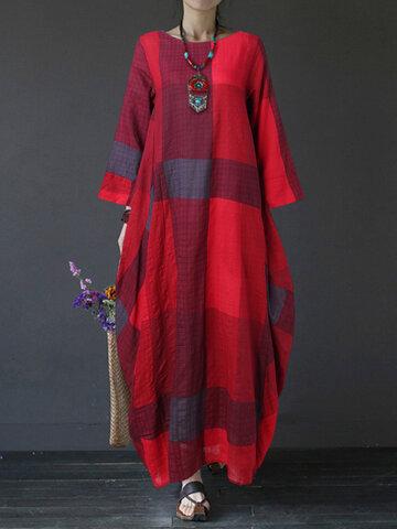 Casual Plaid Printed Maxi Dress