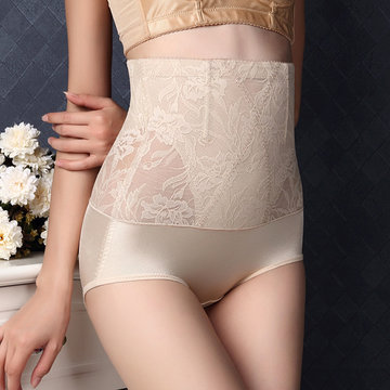 Sexy Lace Jacquard See Trough High Waist Breathable Fitness Shapewear, Black nude