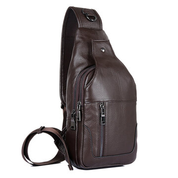 Genuine Leather Chest Bag Casual Vintage Sling Bag For Men