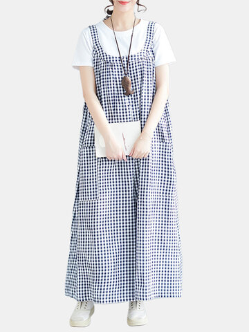 Strap Plaid Wide Leg Strampler