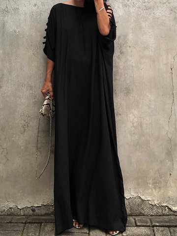 Hollow Solid Color Maxi Dress