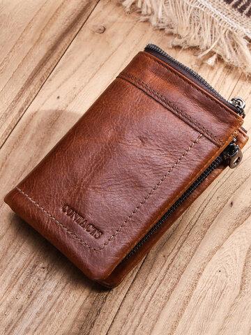 Retro Genuine Leather RFID SIM Card Money Clip Coin Purse Wallet