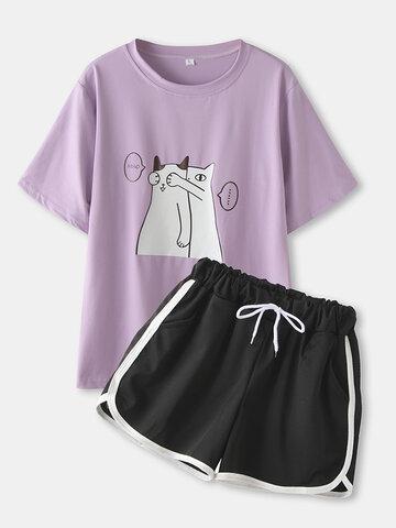 Cute Cartoon Cats Print Short Loungewear