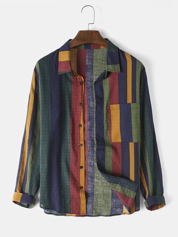 Men Cotton Linen Colorful Stripe Breathable  Long Sleeve Shirt