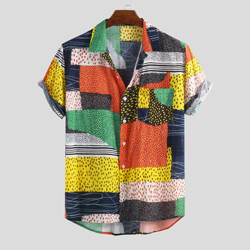 Mens Hit Color Patchwork Wave Point Casual Shirts