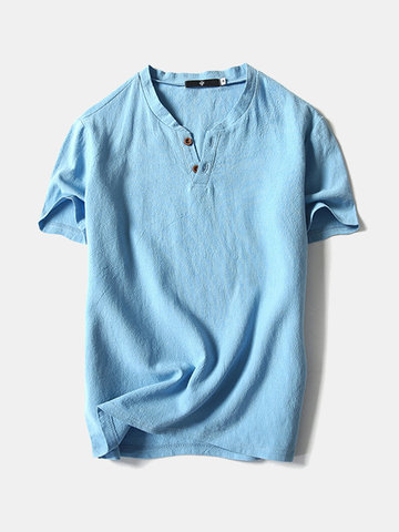 Cotton Linen Solid Color Casual T Shirts