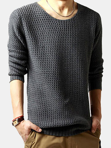 Solid Color Casual Knitted Sweater, Black dark gray light gray