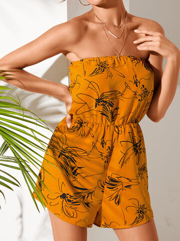 Floral Print Off-shoulder Romper