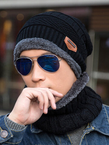 Knitted Beanie Hat Wool Padded Hood Two-Piece Suit