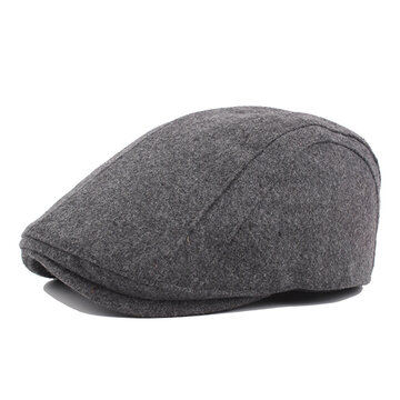 Mens Winter Warm Wool Blend Solid Beret Caps