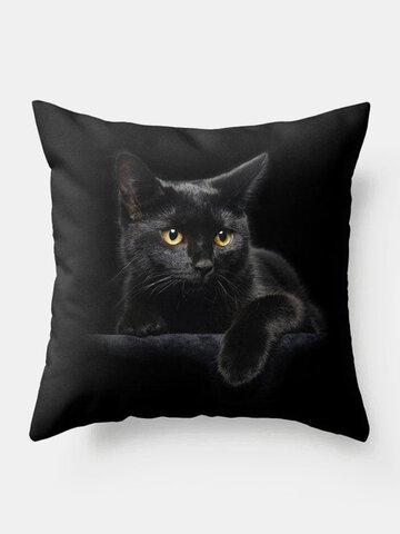 Black Cat Pattern Linen Cushion Cover Home Sofa Art Decor Throw Pillowcase