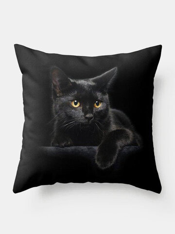 Black Cat Pattern Linen Cushion Cover Home Sofa Art Decor Throw Pillowcase