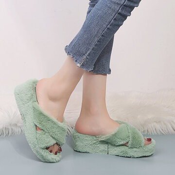 Cross Band Soft Plush Furry Breathable House Slippers